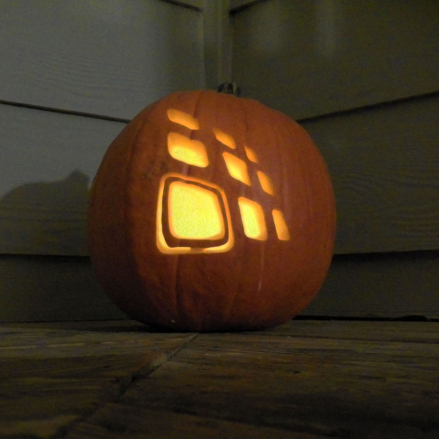 Trig Innovation logo in a pumpkin