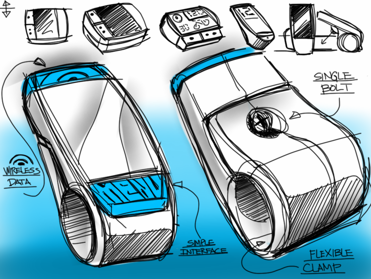 Industrial design sketch: bike clamp wireless device
