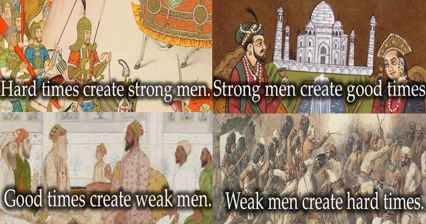 Weak men create hard times. Hard times create strong men. Strong men create good times. Good times create weak men.