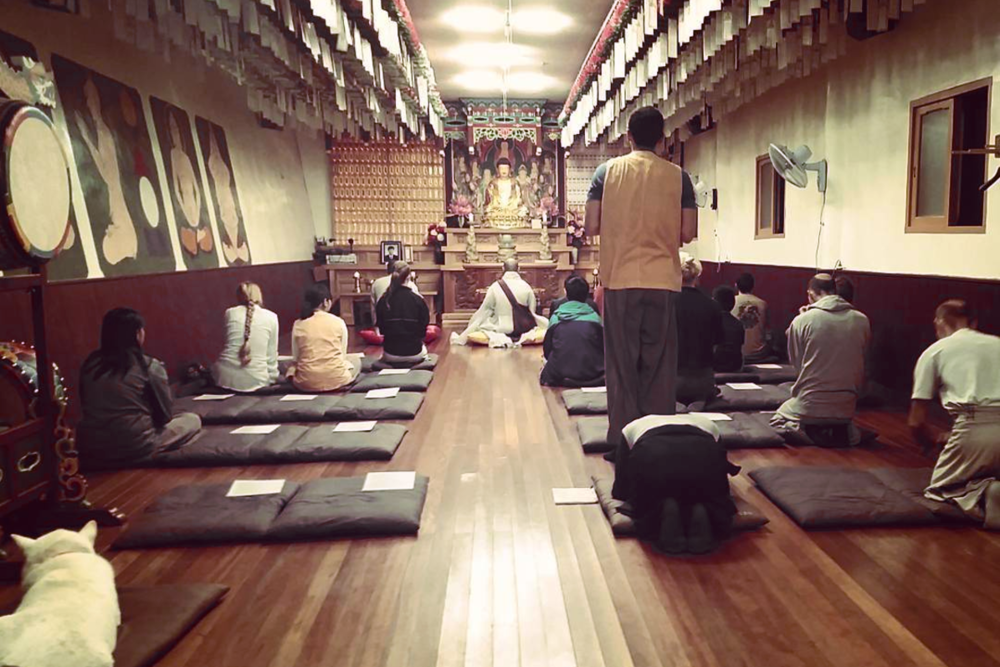 Walking into 4:00am morning prayer during a Templestay in South Korea.