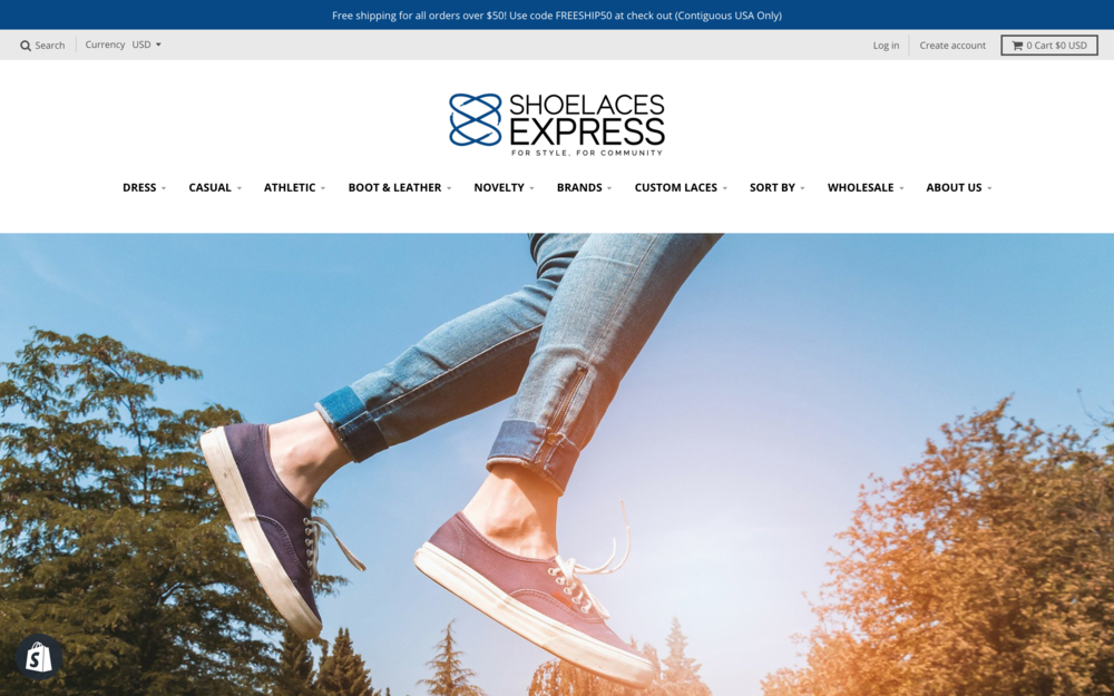 Shoelaces Express New Homepage