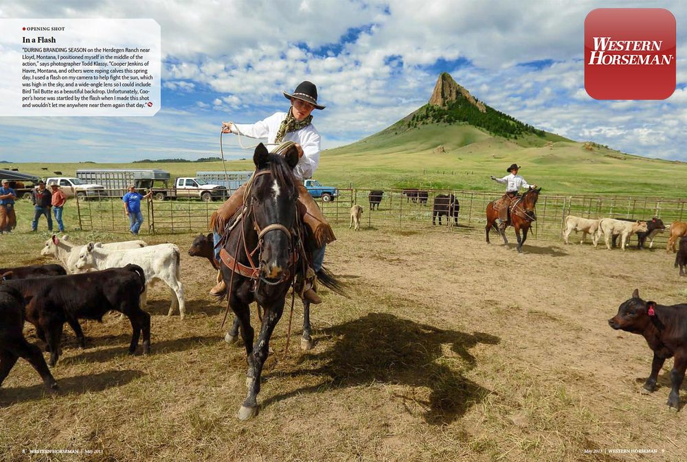 My photo of a young cowboy roping cattle in the corral near Lloyd, Montana is featured as a two-page spread in Western Horseman magazine. → License Photo
