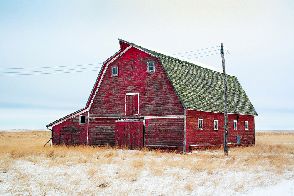 An old red barn on an abandoned farm north of Rudyard, Montana.   → Buy a Print