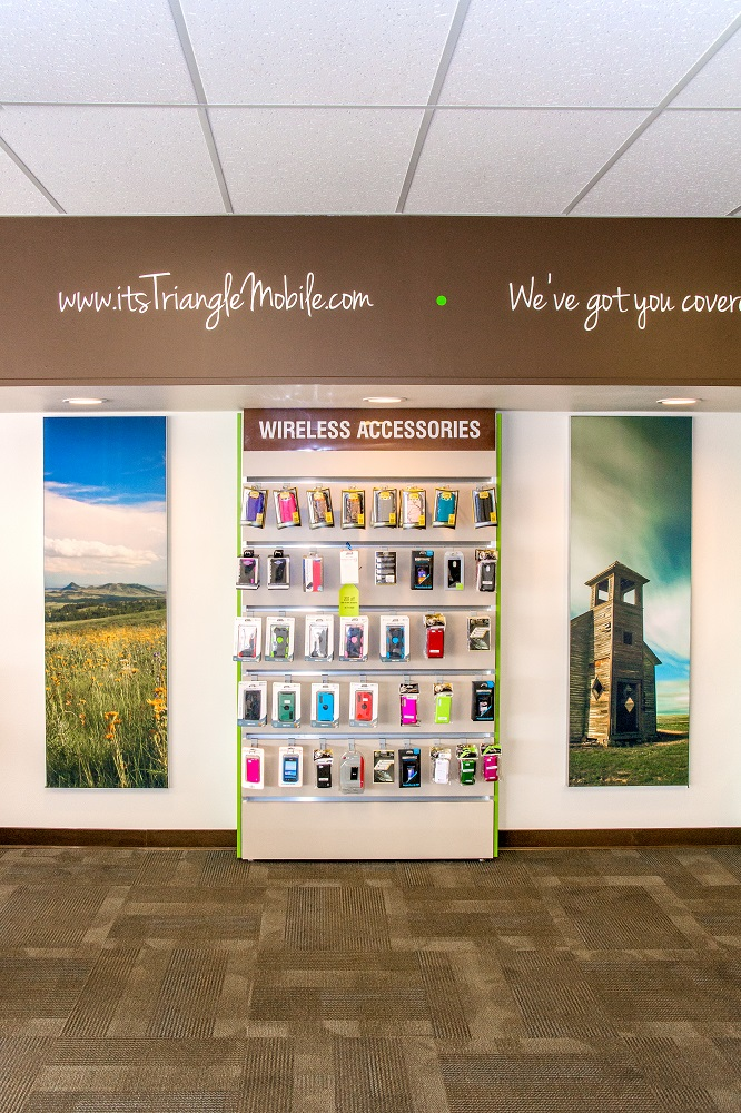 My photos were recently purchased and used as part of a retail point-of-sale display in a Triangle Mobile store in Havre, Montana. The photograph on the right is that of the old Cottonwood Church north of Havre.