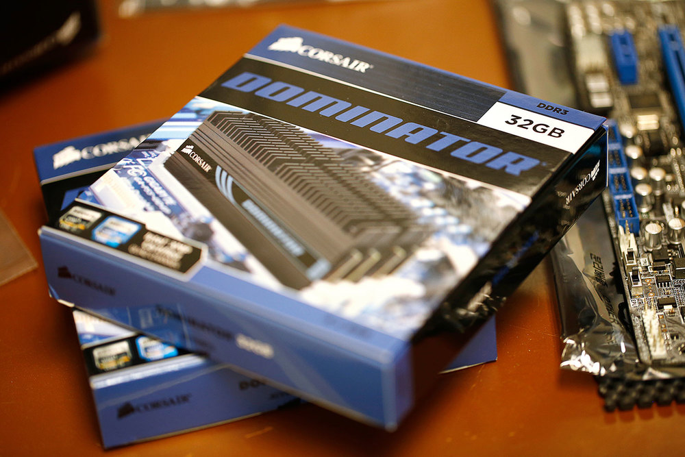 64 gigabytes of Corsair Dominator memory still in its packaging.