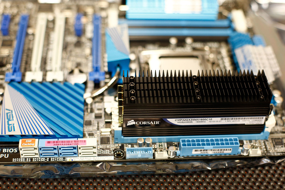 32 gigabytes of memory installed onto the Asus P9X79 Deluxe motherboard. This is when I stopped before installing the second bank of memory because it would have then been tight installing the microprocessor.