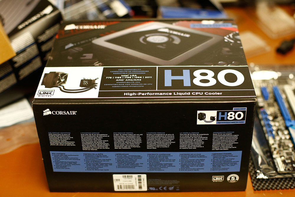 The Corsair H80 Hydro CPU Liquid Cooling System still inside its box and just before installing it inside my new computer.