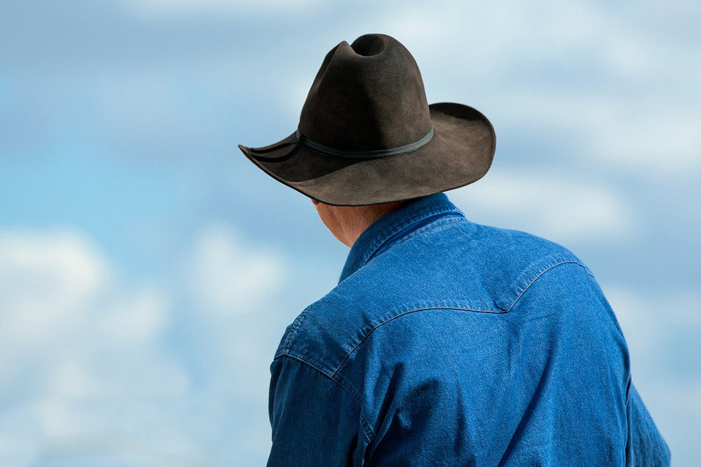 A photograph of a western cowboy and his black cowboy hat shot from behind on a Montana ranch. → Buy a Print