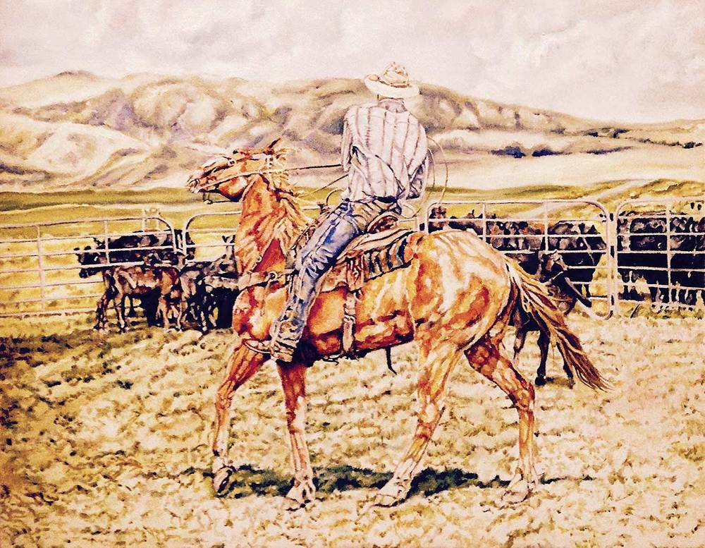One of my ranch photos was used as the inspiration for this painting by Eddie Thiel.