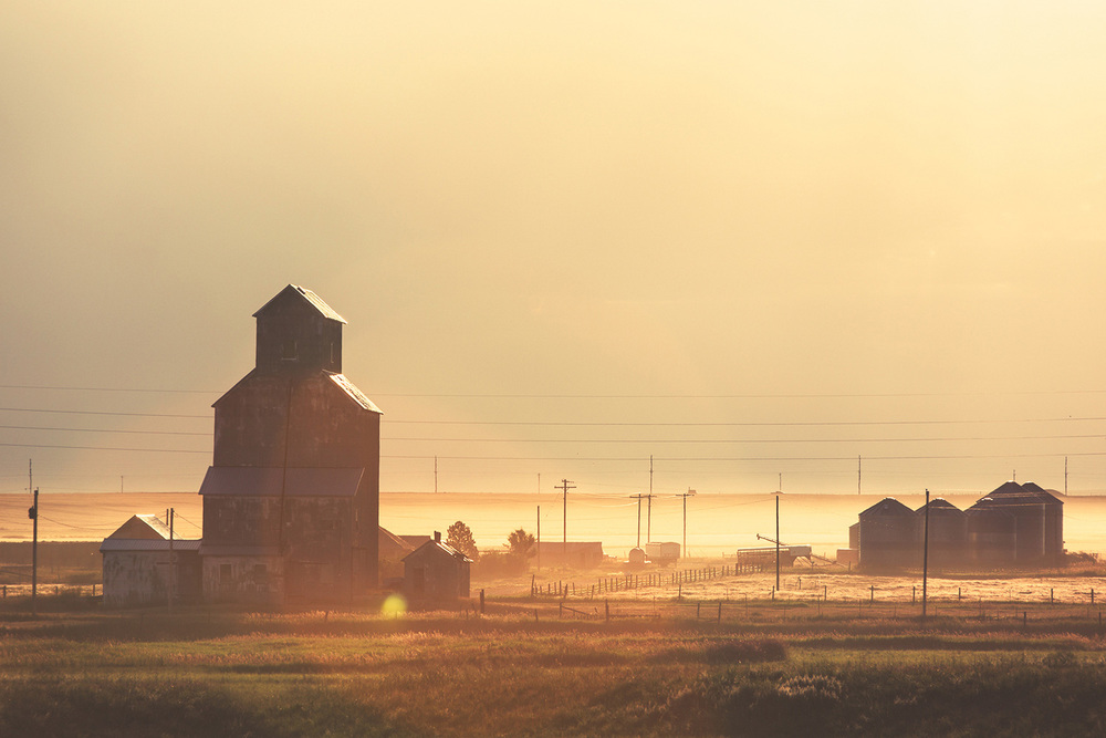 Dust kicked up by trucks and farm equipment traveling down the gravel roads shroud tiny Straw, Montana in dust. → Buy a Print