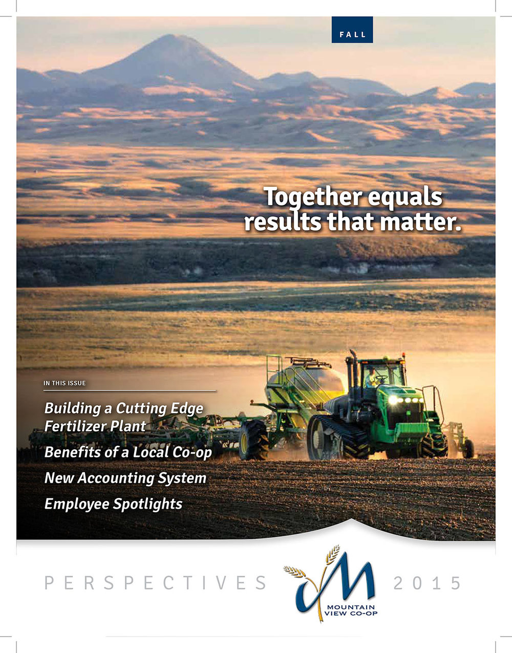 This is one of my agricultural photos published on the cover of the rural Mountain View Co-op autumn 2015 quarterly publication.