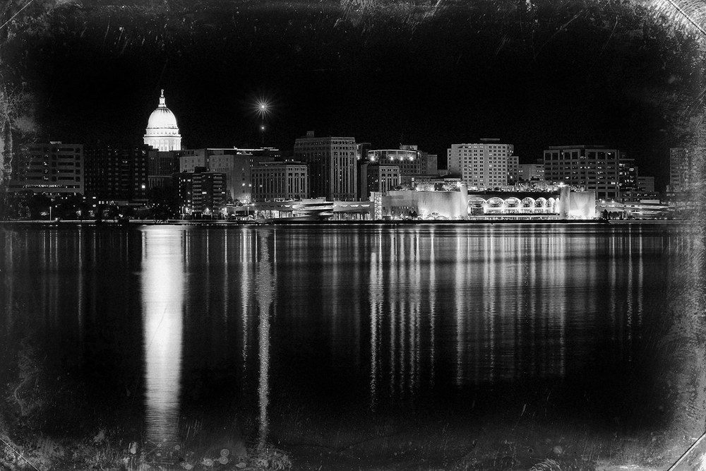 A photo of the Madison, Wisconsin skyline across Lake Monona with an old fashioned look and feel.→ Buy a Print