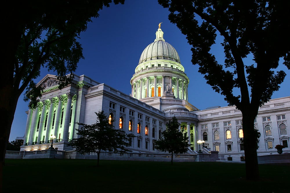 The Wisconsin State Capitol just after its lights came on in Madison, Wisconsin. → Buy a Print