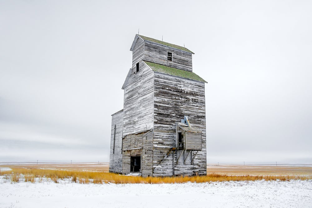 Grain Elevator on White
