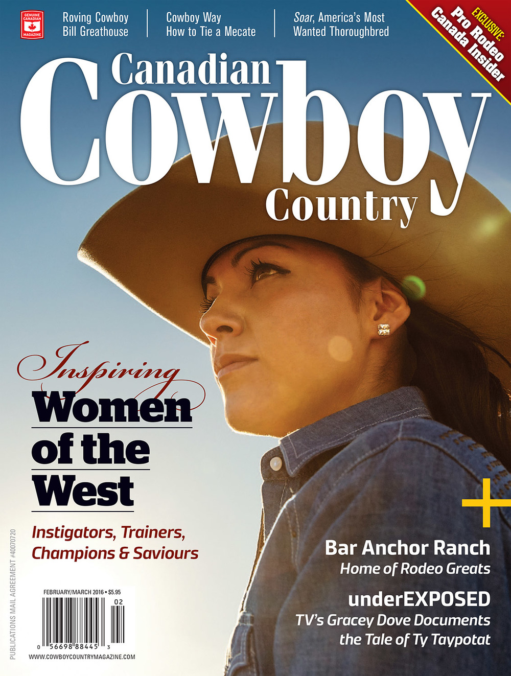 My photo of a real working cowgirl and rodeo rider appears on the cover of the February/March 2016 issue of Canadian Cowboy Country magazine.