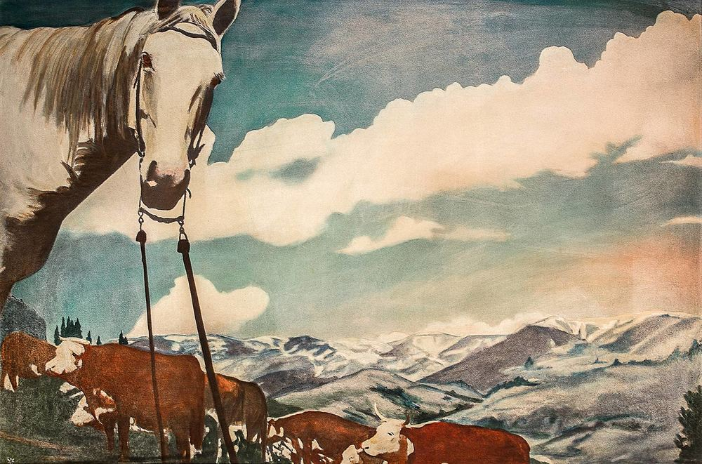 A high resolution photo of a horse print, which hangs in Eddie's Supper Club in Great Falls, Montana.
