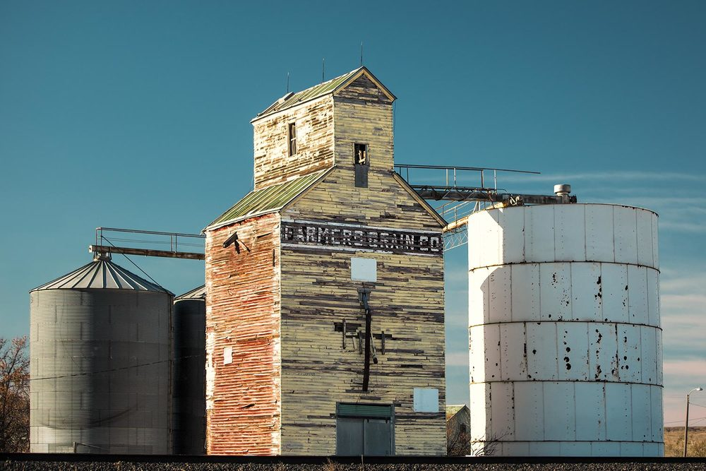The old Farmers Grain Company elevator in Saco, Montana.  → Buy a Print