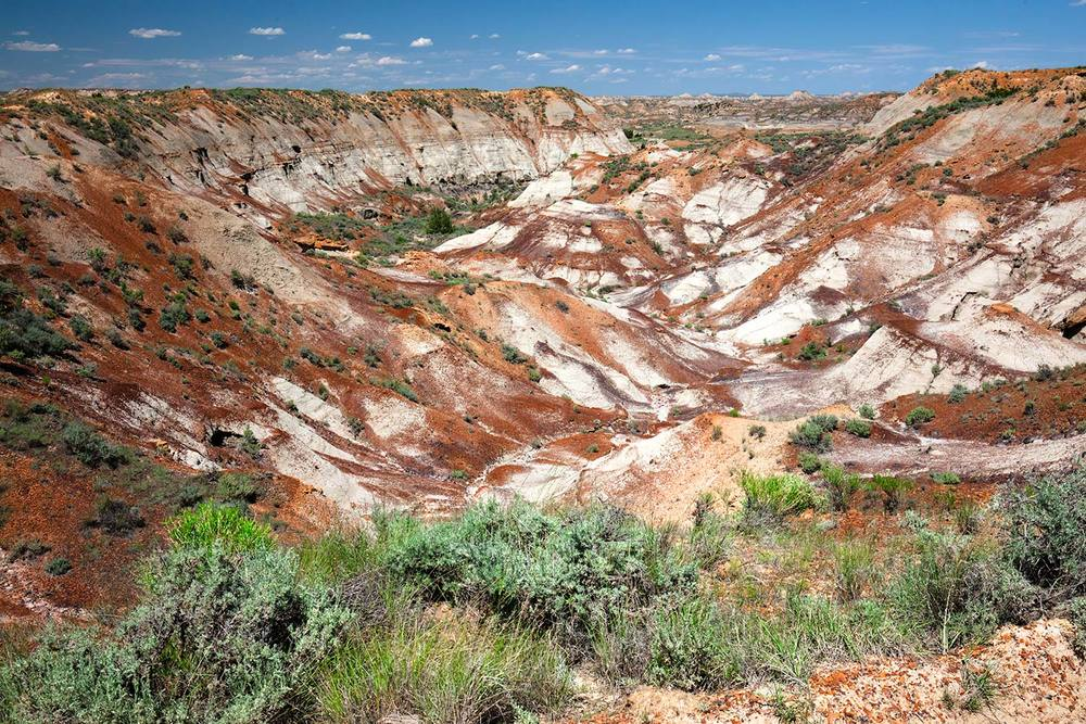 A view of the colorful spring landscape deep inside the Terry Badlands near Terry, Montana.