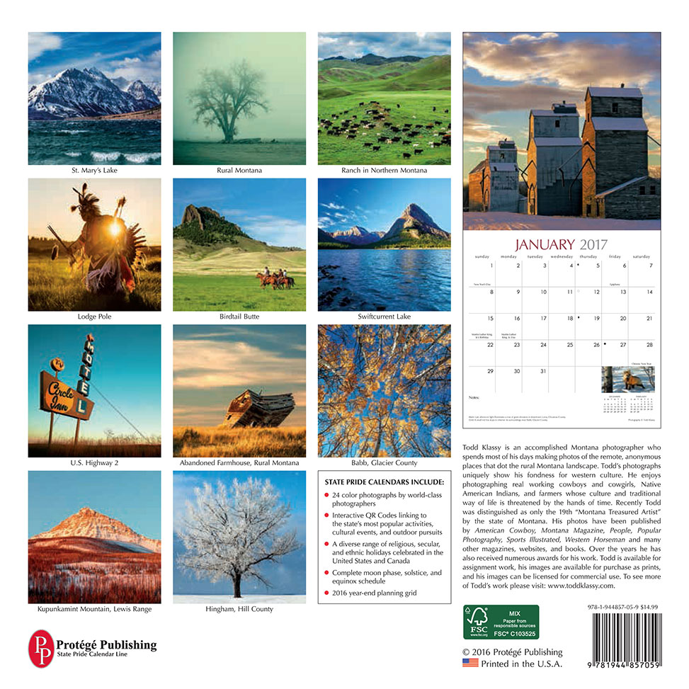 Todd Klassy 2017 Montana Photo Calendar Back