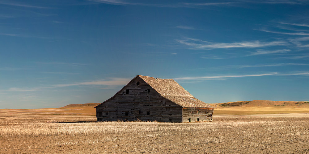 A aging old barn stands alone in a field east of Choteau, Montana.   → Buy a Print   or   License Photo