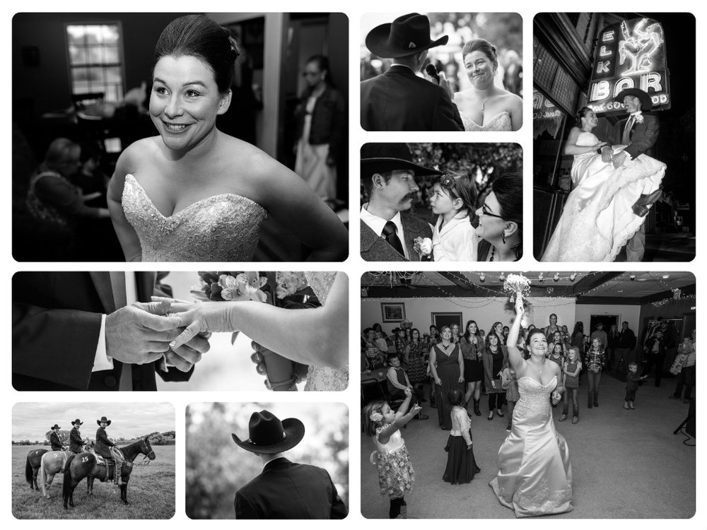Black and White Photos from Cowboy Wedding Photography