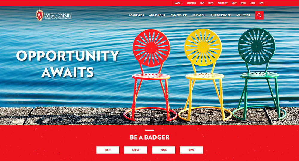 One of my photos of Madison—a photo of the sunburst chairs on the Memorial Union Terrace—appears on the new UW website's home page.   → Buy a Print   or   License Photo