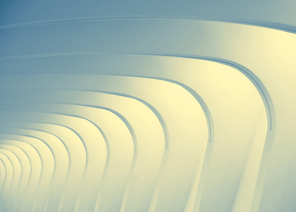 The arching corridor of the Milwaukee Art Museum in Milwaukee, Wisconsin. → Buy a Print or License Photo