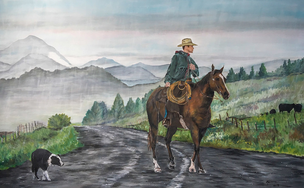 "An acrylic painting by Kerma Boyum-Sarmiento of my cowboy photograph called ""Braving the Rain."""