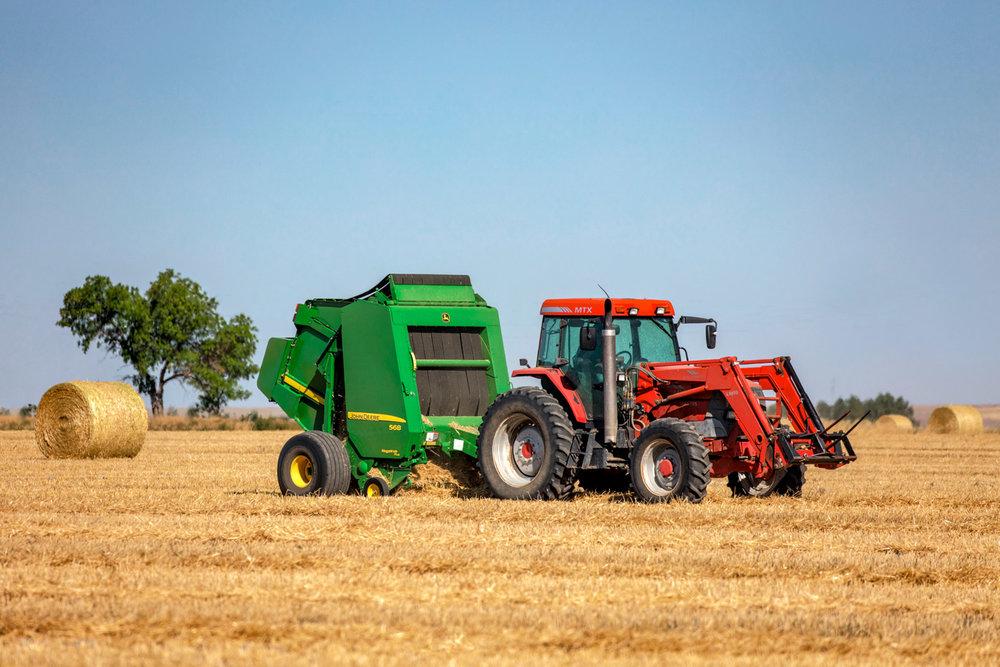 A McCormick tractor and a John Deere baler baling wheat straw near Brady, Montana.