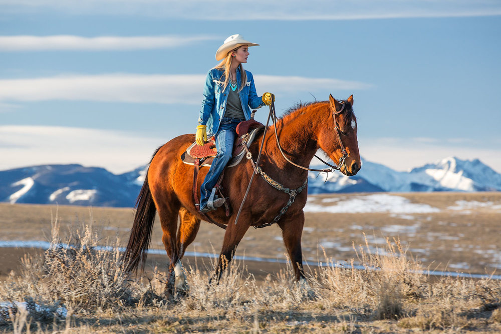 A cowgirl rides her horse near the Montana  mountains outside of Bozeman, Montana.