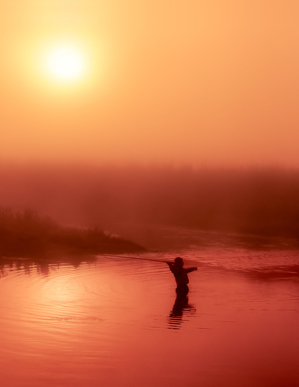 Vertical Fly Fishing Silhouette