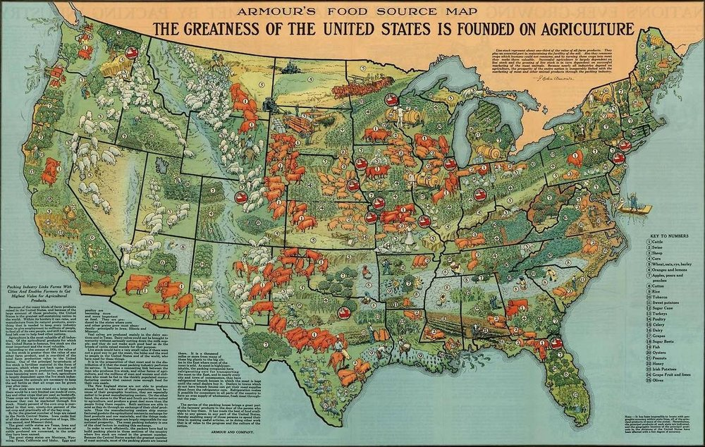 An old map produced by Armour and Company to show agriculture production across the United States and where they source food for the different products they make.