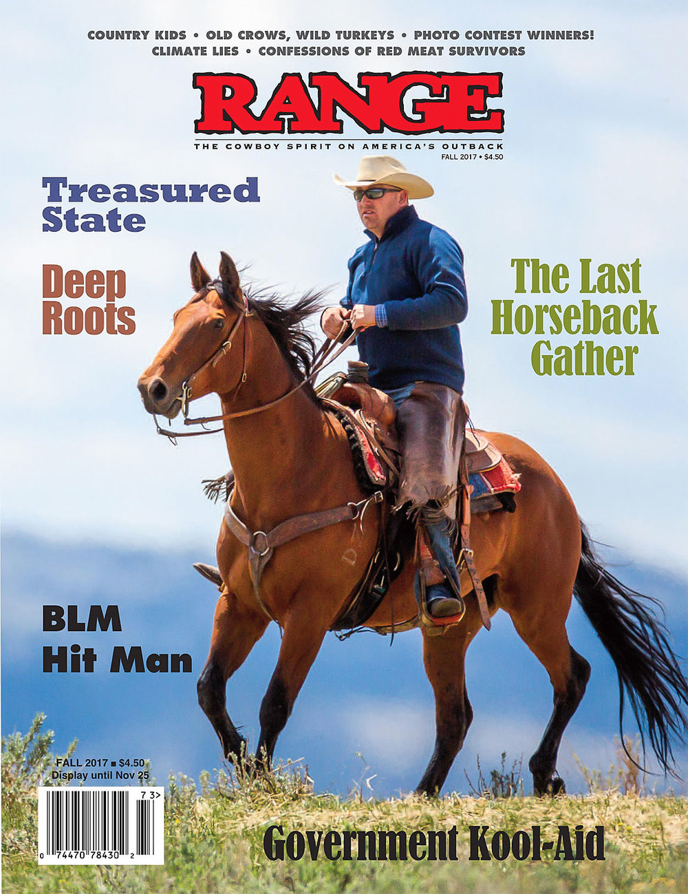 One of my many photos of cowboys appears here on the cover of the fall 2017 issue of Range Magazine, which hits the newsstands in another few weeks.