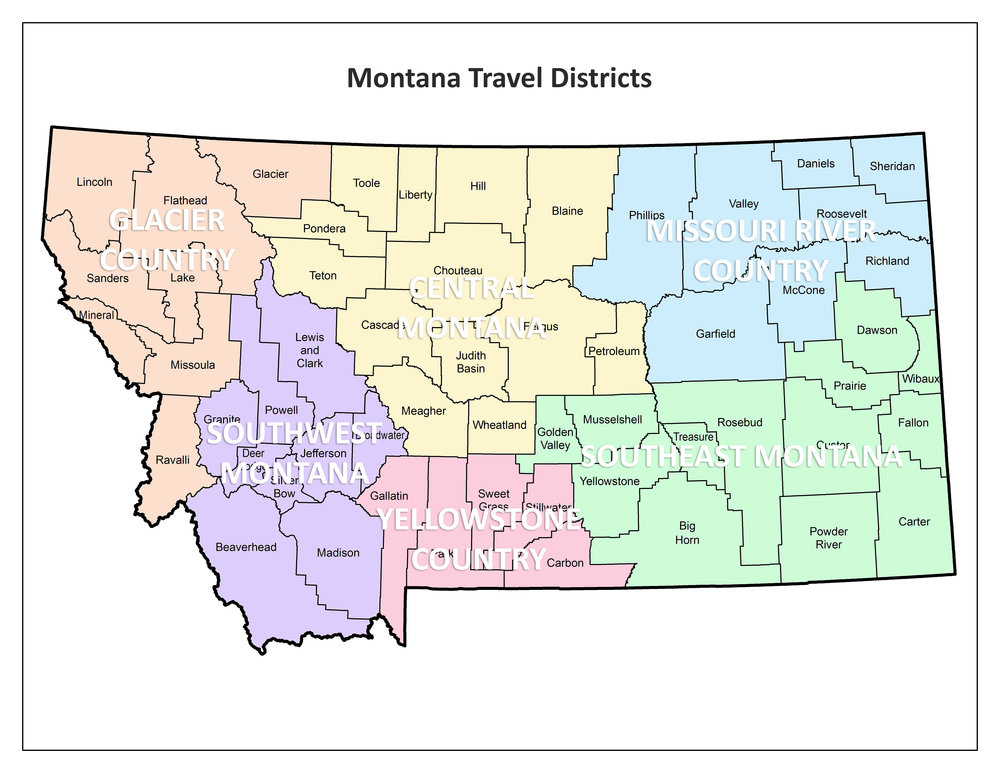 Map of Montana Travel Regions