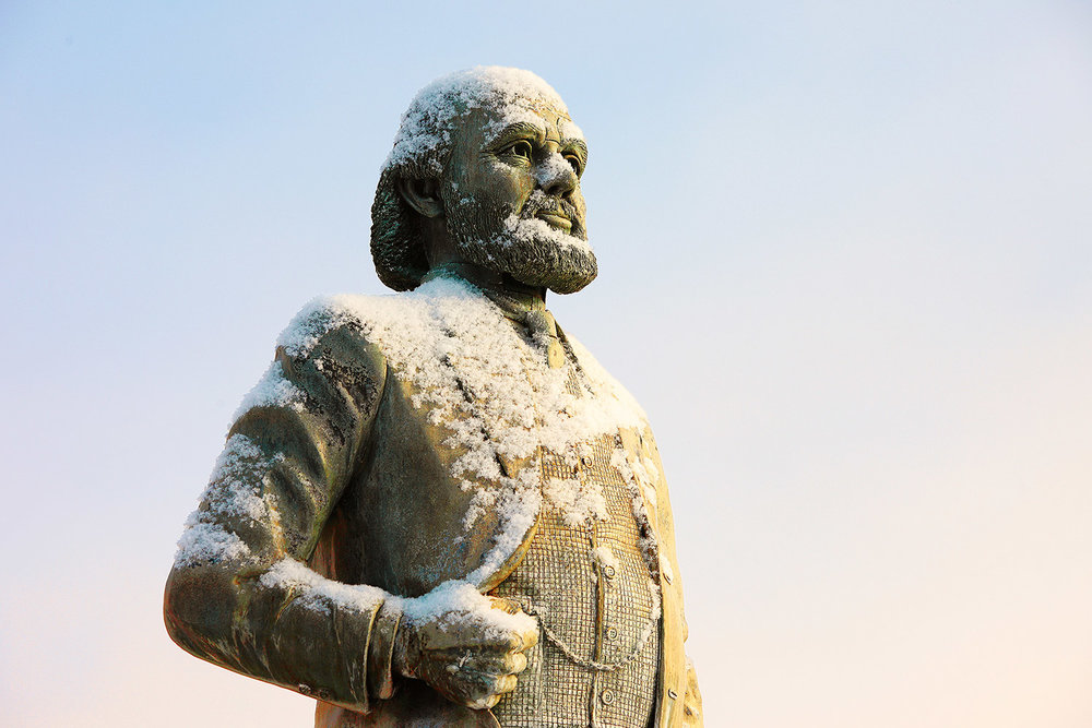 A statue of James J. Hill in Havre, Montana. He was a railroad executive who managed the Great Northern Railway, and he is the namesake for Hill County, where Havre is located.