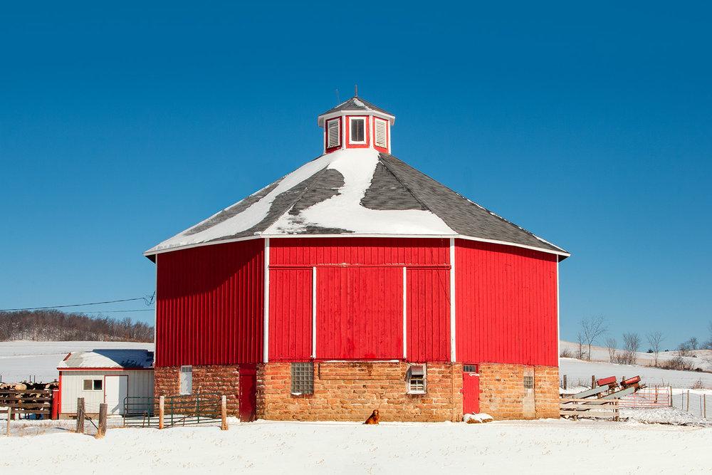 Round Barn on Snow