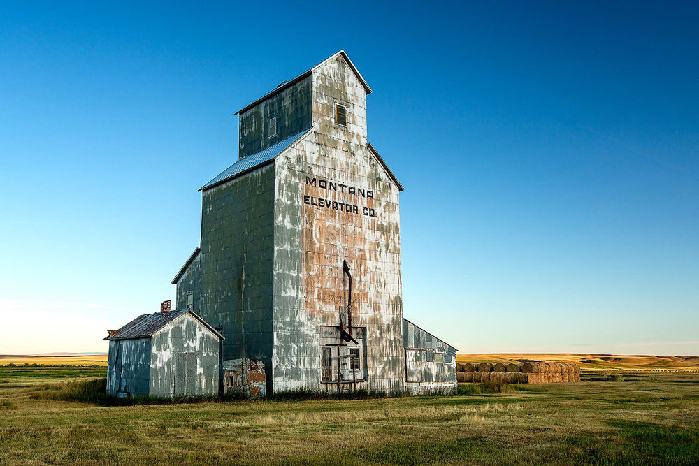 An old grain elevator on the outskirts of the tiny town of Straw, Montana.   → Buy a Print     or   License Photo