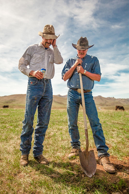 Cowboys Shoveling