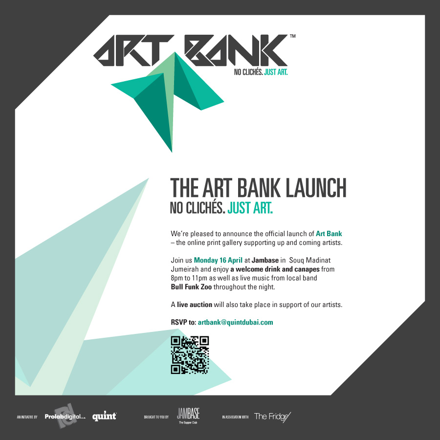 Looking forward to this Quint Magazine event!  Find more details on their FB page:  https://www.facebook.com/artbankdubai