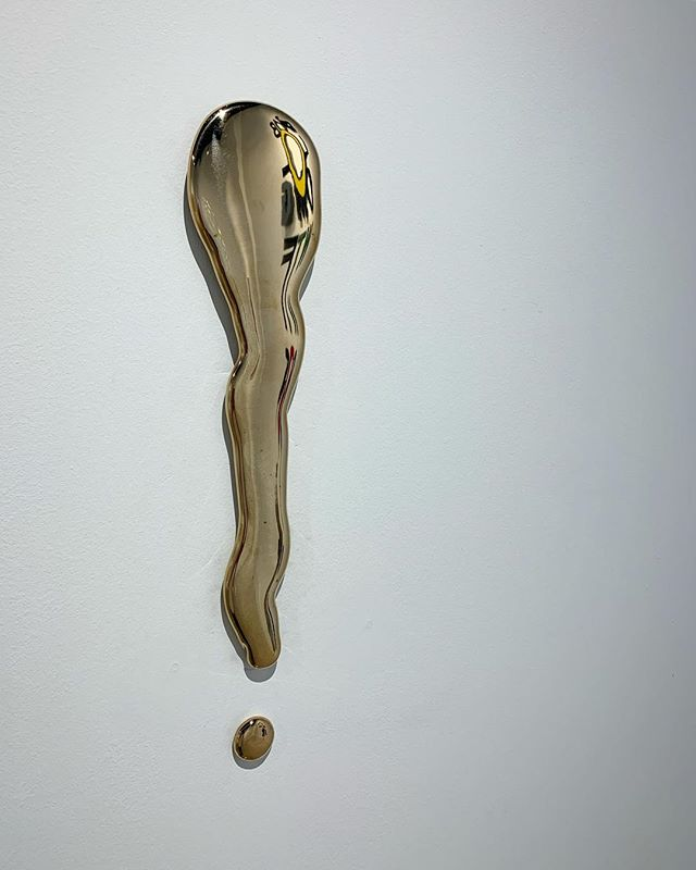 "Rob Wynne's ""!"", 19 x 4 in, polished bronze  #art #bronzesculpture #contemporaryart"