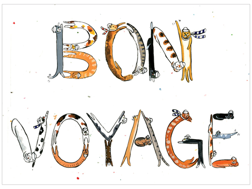 Cat letters bon voyage greeting card kimmy makes things cat letters bon voyage greeting card m4hsunfo