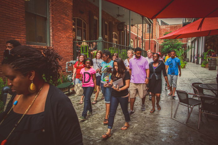 Walking through the Alley Station in downtown Montgomery during orientation week.