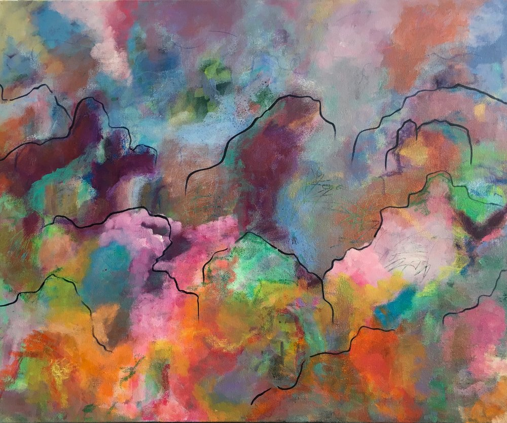 where wildflowers meet candy clouds ~ 30x24x1.5 ~ acrylic/soft pastel