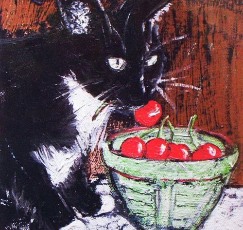 Tuxedo and Cherries Print