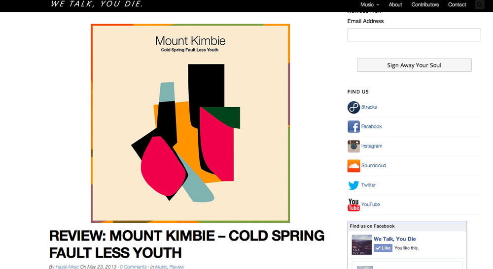 Mount Kimbie - Cold Sprint Fault Less Youth