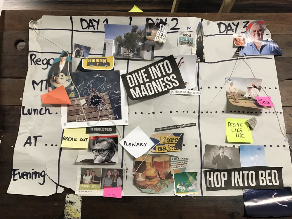 A vision board of key moments in the 3-day journey of an event