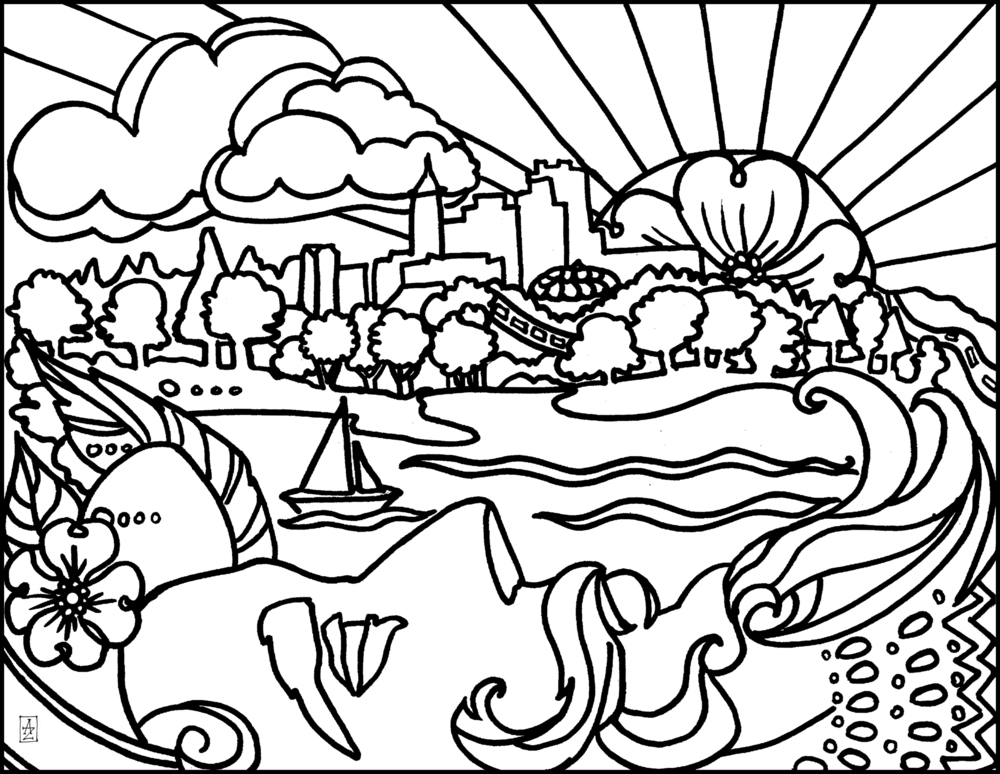 Black and white line drawing that will become very colorful! Sir Walter Raleigh views the lovely Shelley Lake behind the Sertoma Arts Center and the city skyline beyond