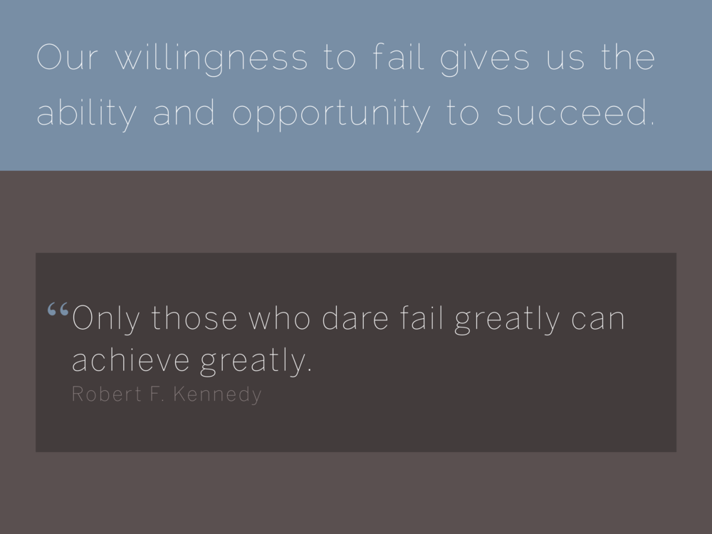 Quote  Only those who dare fail greatly can achieve greatly.  Robert F. Kennedy