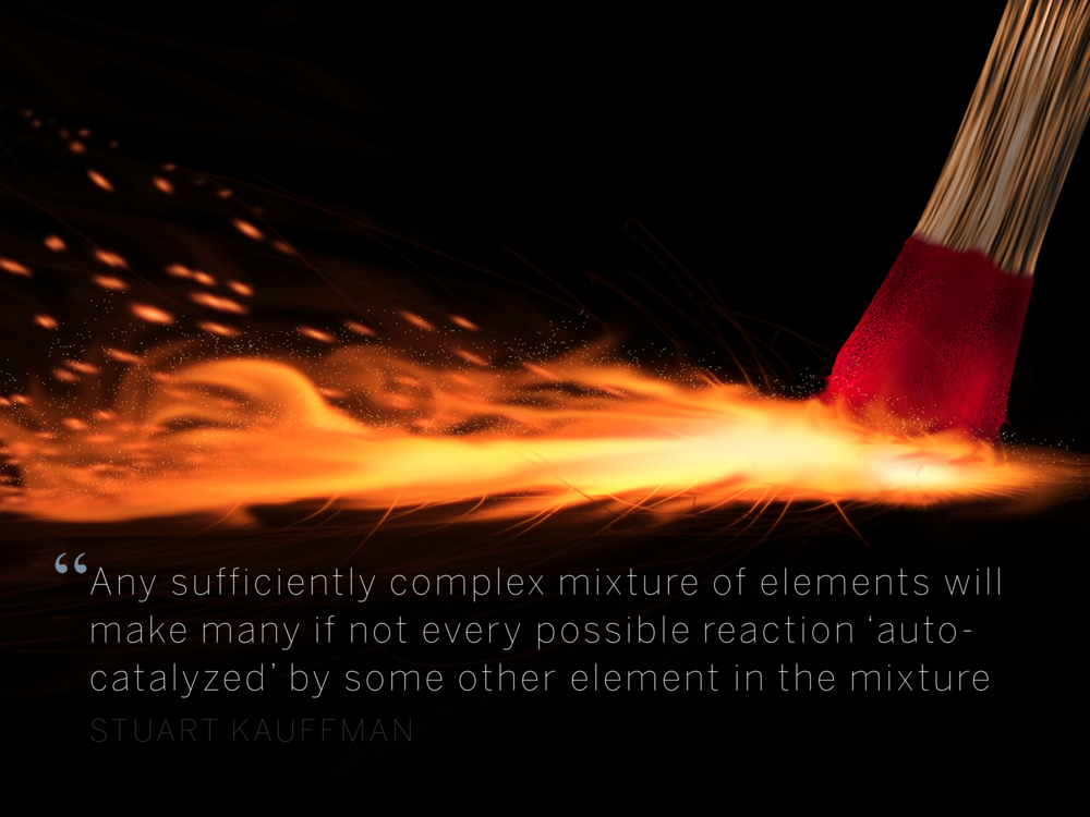 Any sufficiently complex mixture of elements will make many if not every possible reaction 'auto-catalyzed' by some other element in the mixture Stuart Kauffman
