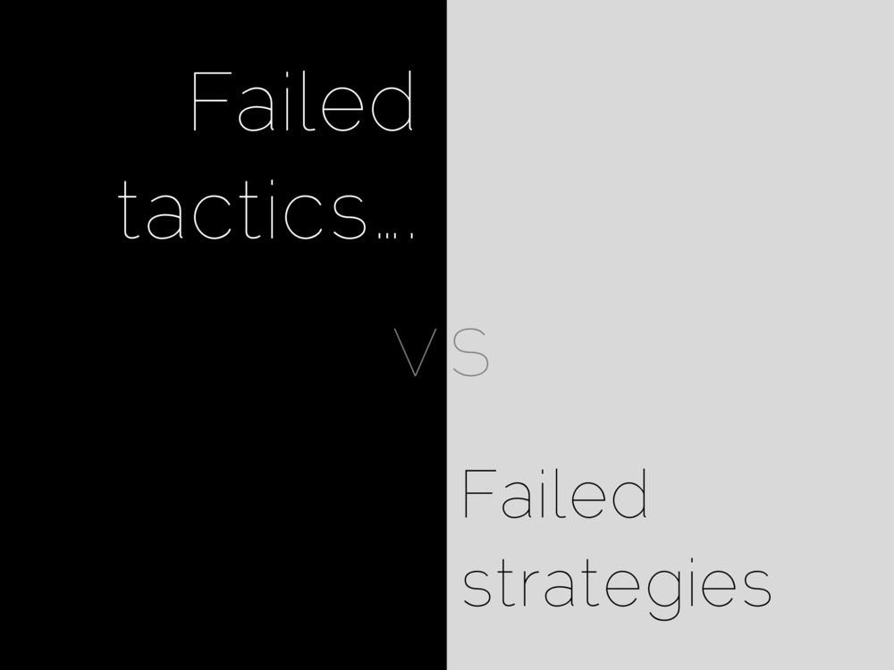 Failed tactics…. vs   Failed strategies